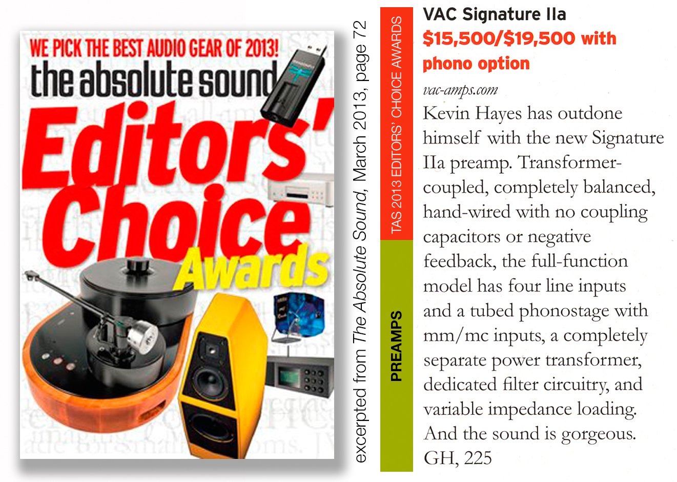 Editors' Choice Award: VAC Signature IIa